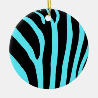 Ornamento del estampado de zebra adorno navideño redondo de cerámica