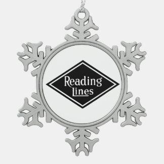 Ornamento del estaño del logotipo de Reading Adorno De Peltre En Forma De Copo De Nieve