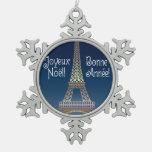 Ornamento del estaño del navidad de la torre Eiffe
