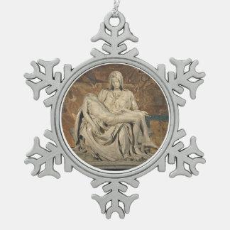 Ornamento del estaño del Pieta Adorno De Peltre En Forma De Copo De Nieve