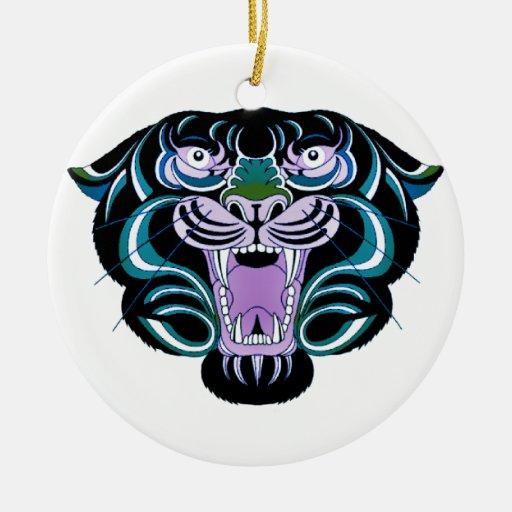 Ornamento del estilo 2 del tigre adorno navideño redondo de cerámica