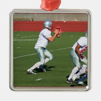 Ornamento del estratega del fútbol adorno navideño cuadrado de metal