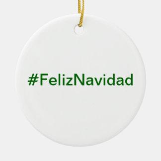 Ornamento del #FelizNavidad Adorno Navideño Redondo De Cerámica
