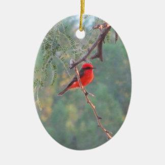 Ornamento del Flycatcher bermellón Adorno Navideño Ovalado De Cerámica