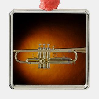 Ornamento del fondo del oro de la trompeta o del adorno navideño cuadrado de metal