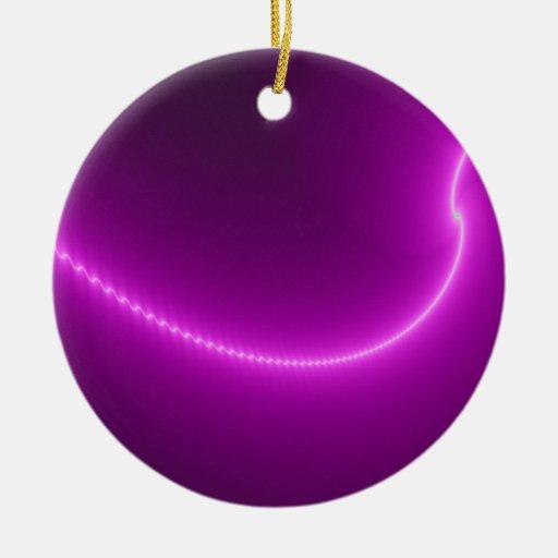 Ornamento del fractal de la descarga eléctrica adorno navideño redondo de cerámica