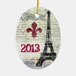 Ornamento del francés del vintage de la torre adorno navideño ovalado de cerámica