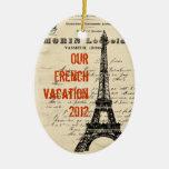 Ornamento del francés del vintage de la torre Eiff Ornamento Para Arbol De Navidad