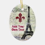 Ornamento del francés del vintage de la torre Eiff Ornamente De Reyes