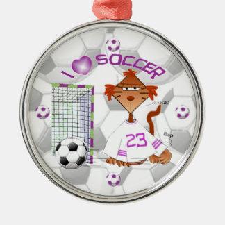 Ornamento del fútbol adorno navideño redondo de metal