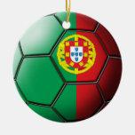 Ornamento del fútbol de Portugal Adorno Navideño Redondo De Cerámica