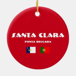 Ornamento del fútbol de Santa Clara Azores Adorno Navideño Redondo De Cerámica