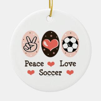 Ornamento del fútbol del amor de la paz adorno navideño redondo de cerámica