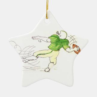 Ornamento del fútbol del estratega adorno navideño de cerámica en forma de estrella