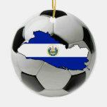 Ornamento del fútbol del fútbol de El Salvador Adorno Navideño Redondo De Cerámica