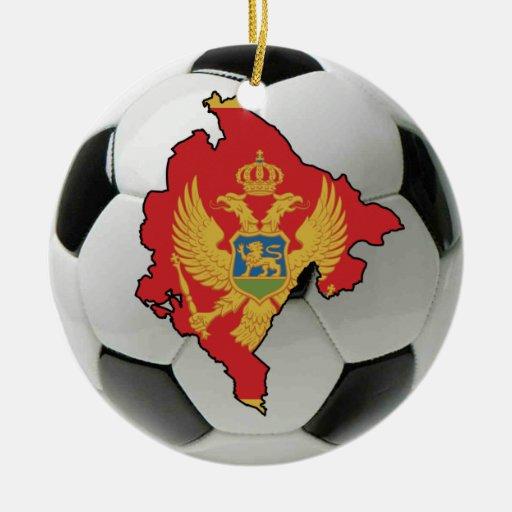 Ornamento del fútbol del fútbol de Montenegro Adorno Navideño Redondo De Cerámica
