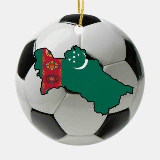 Ornamento del fútbol del fútbol de Turkmenistán Adorno Navideño Redondo De Cerámica
