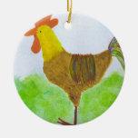 Ornamento del gallo adorno navideño redondo de cerámica