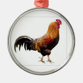Ornamento del gallo adorno navideño redondo de metal