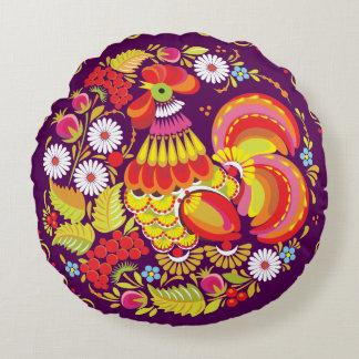 Ornamento del gallo cojín redondo
