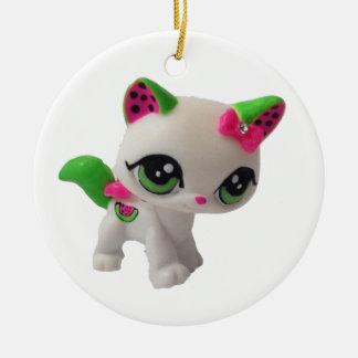 Ornamento del gatito de la sandía adorno navideño redondo de cerámica