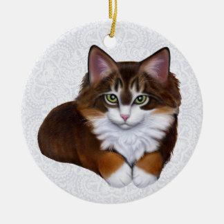 Ornamento del gatito del Coon de Maine de la conch Adorno De Reyes
