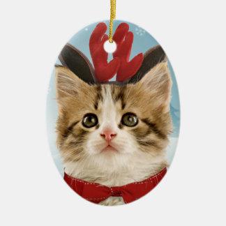 Ornamento del gatito del reno adorno navideño ovalado de cerámica