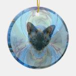 Ornamento del gatito del rescate del superviviente adorno navideño redondo de cerámica