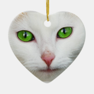 Ornamento del gato adorno navideño de cerámica en forma de corazón