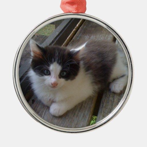 ornamento del gato adorno navideño redondo de metal