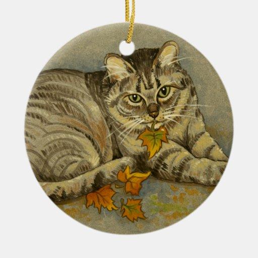 Ornamento del gato de 4872 otoños adorno redondo de cerámica