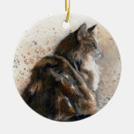 Ornamento del gato de Coon de Maine Adorno Navideño Redondo De Cerámica