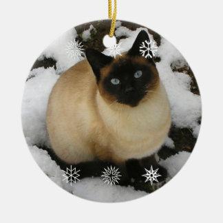 Ornamento del gato de la nieve ornamento de reyes magos