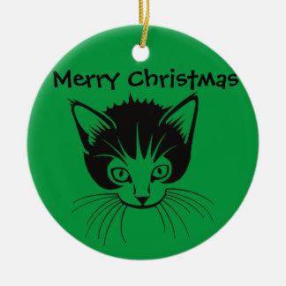 Ornamento del gato de las Felices Navidad Adorno Navideño Redondo De Cerámica