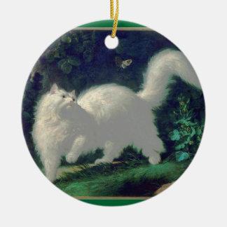 Ornamento del gato del angora adorno navideño redondo de cerámica