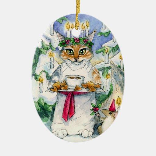 Ornamento del gato del navidad de Santa Lucía Ornamentos De Navidad