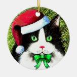 Ornamento del gato del navidad del gorra de Papá Adorno Navideño Redondo De Cerámica