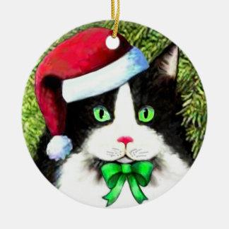Ornamento del gato del navidad del gorra de Papá Ornamentos De Navidad