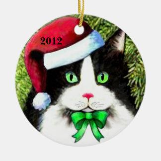 Ornamento del gato del navidad del gorra de Papá Ornamento De Reyes Magos