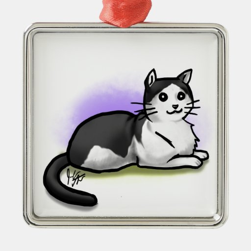 Ornamento del gato - Jamie Adorno Navideño Cuadrado De Metal