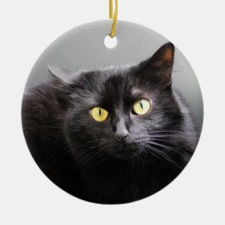 Ornamento del gato negro adorno redondo de cerámica