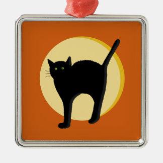Ornamento del gato negro y de la luna de cosecha adorno navideño cuadrado de metal
