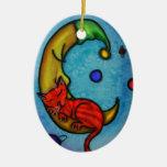 Ornamento del gato y de la luna adorno navideño ovalado de cerámica