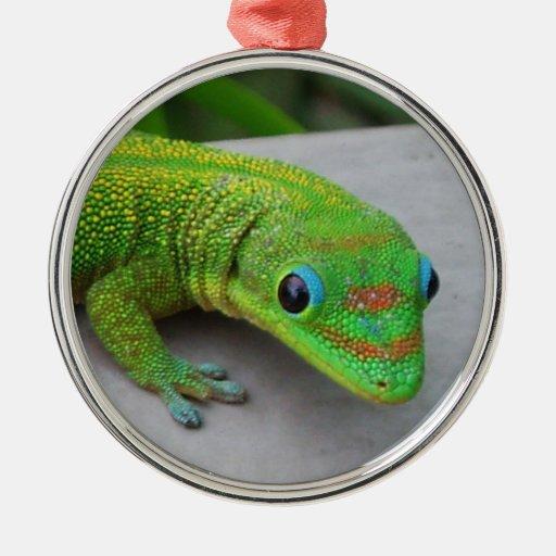 Ornamento del Gecko del día del polvo de oro Adorno Redondo Plateado