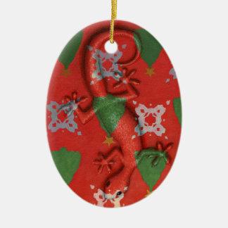 Ornamento del Gecko del navidad Adorno Navideño Ovalado De Cerámica