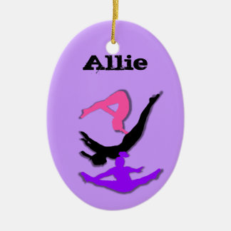 Ornamento del gimnasta del trampolín de adorno navideño ovalado de cerámica