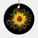 Ornamento del girasol de la mariquita ornato