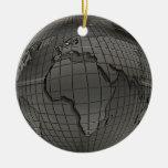 Ornamento del globo del mundo de la mirada del adorno redondo de cerámica