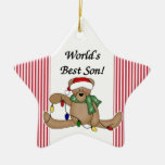 Ornamento del hijo del mundo del oso de peluche el ornato
