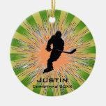 Ornamento del hockey adorno redondo de cerámica